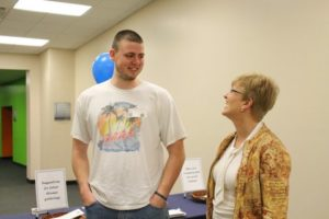 Mrs. Purvis reminisces with Matt Carman '10